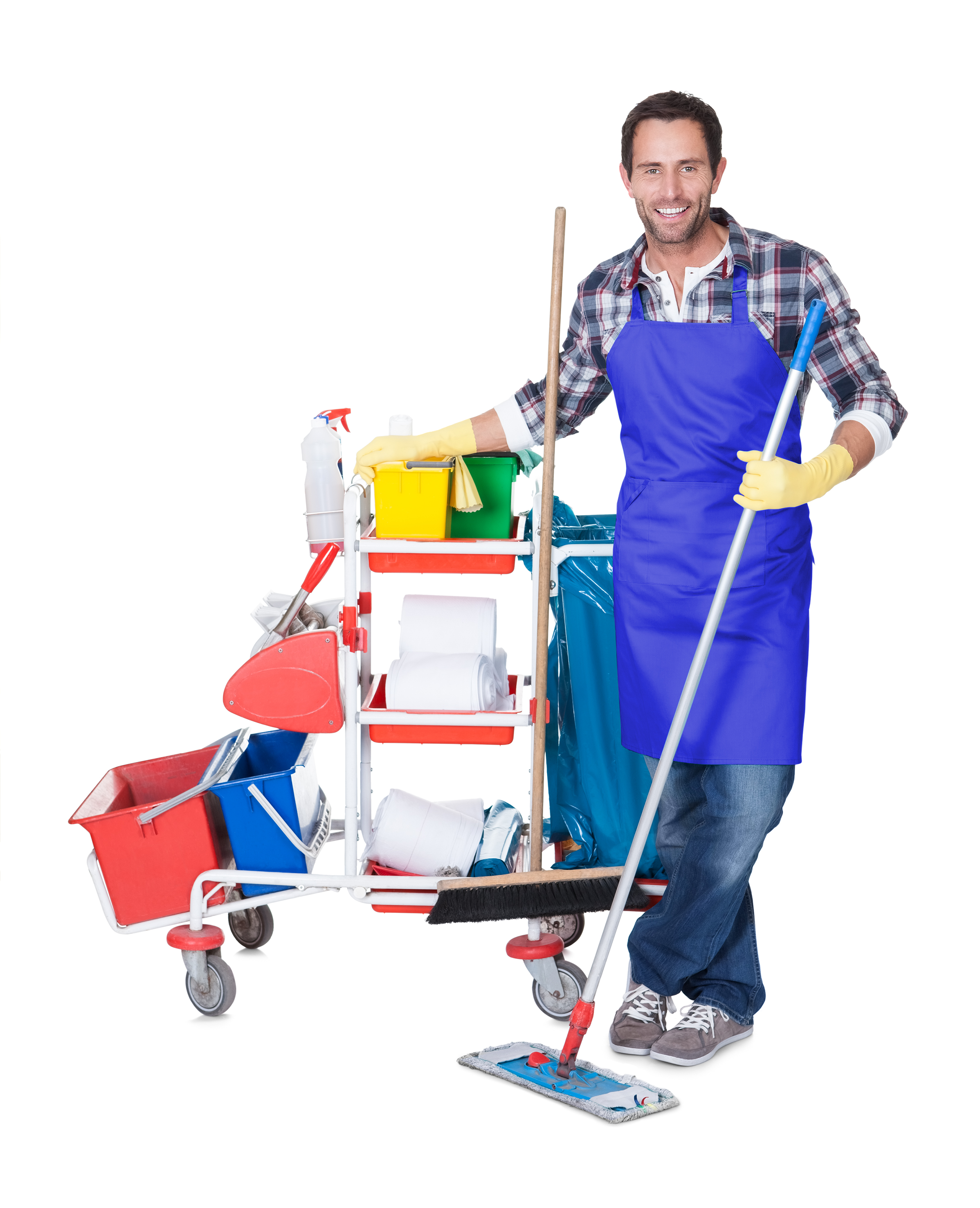Man from professional cleaning service. Isolated on white